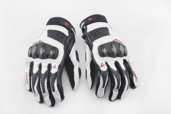 【購物百分百】2014款韓國進口牛皮 真碳纖維騎士機車手套 摩托車賽車手套 防摔手套白色麥