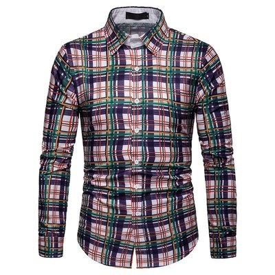 eBay 3D男士商務 春秋格子襯衣休閒長袖襯衫