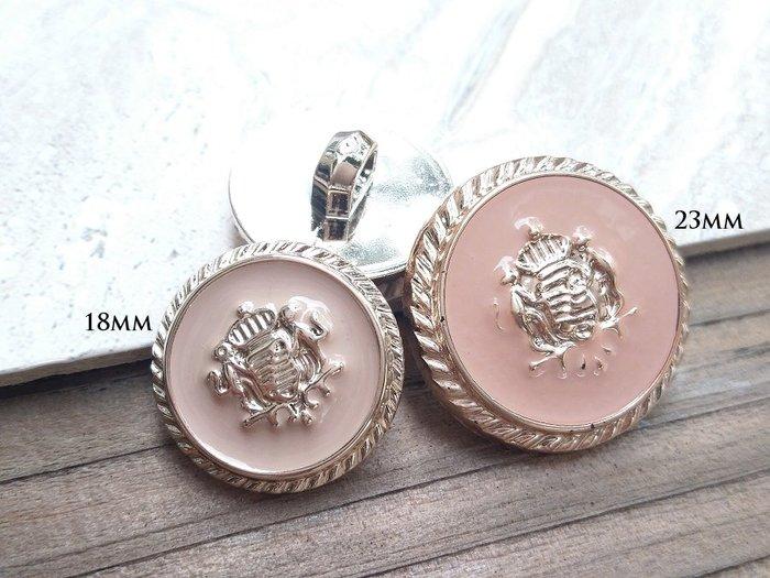 DAda緞帶‧I21008-18mm/23mm甜蜜色滴膠玫瑰金鈕扣(自選)5~4個$40