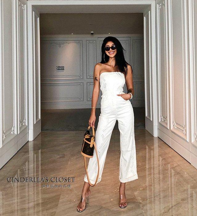《仙杜瑞拉的衣櫃》p0380 素色牛仔質感 高腰鏤空繡花闊腿褲 平口連身褲