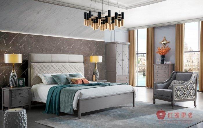 [紅蘋果傢俱] YWG807 歐式輕奢唯美 布床 歐式皮床 新古典床台 黃銅五金床架 美式雙人床