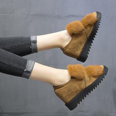 韓版 潮流 豆豆鞋 樂福鞋 百搭款秋冬季兔毛內增高女鞋平底毛毛鞋低幫雪地鞋豆豆鞋厚底加絨女棉鞋