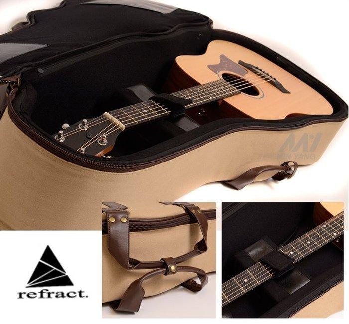 【民揚樂器】台灣外銷品牌 refract 民謠吉他軟硬盒 棕色 木吉他厚琴袋 CL-AG-BE