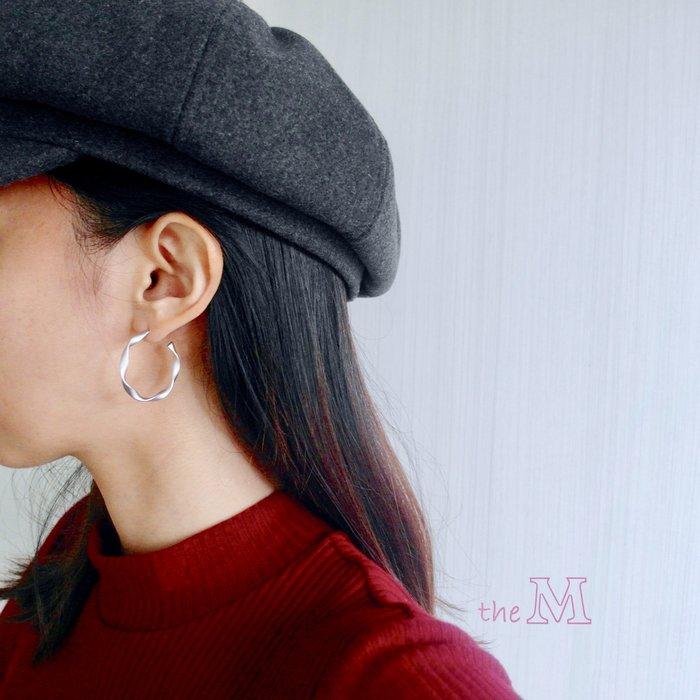 《正韓》霧面麻花圈圈耳環-銀色-925純銀耳針