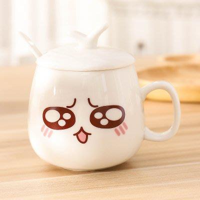 陶瓷馬克杯女男咖啡杯可愛卡通杯子帶蓋勺喝水杯麥片杯牛奶杯瓷杯