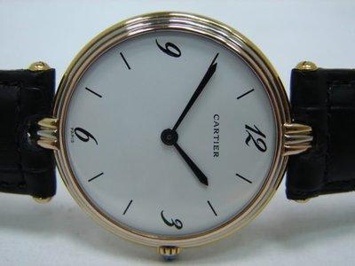 (板信當舖流當品)  CARTIER 卡地亞 18K金 三色金 石英 女錶 9成5新 直購價60000元PR080