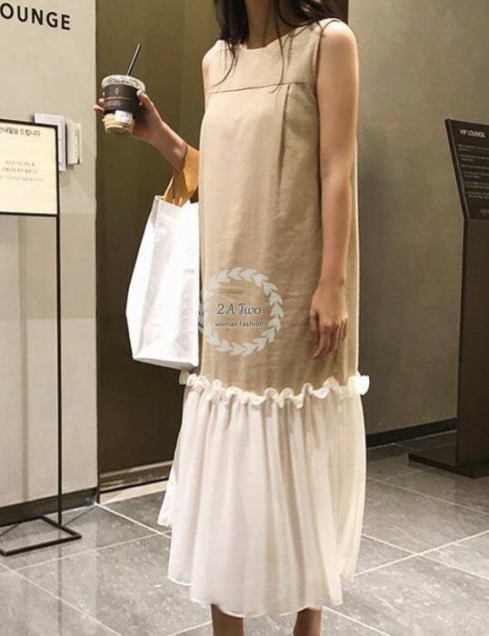 【2A Two】無袖棉麻🍬寬鬆顯瘦⌒拼接連身裙『BA0647』