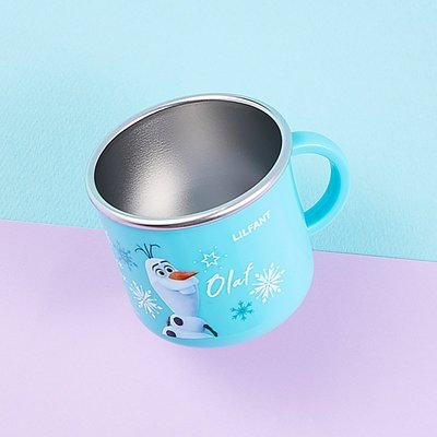 ♀高麗妹♀韓國 Disney FROZEN II 冰雪奇緣2 304不鏽鋼/雙層隔熱/寬底防滑 單耳水杯-藍色款(預購)