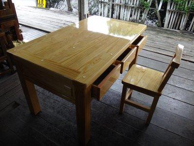 E005 {崙頂傳統原木家具行}~黃松木實木原木色抽屜書桌 整組售價  有現貨