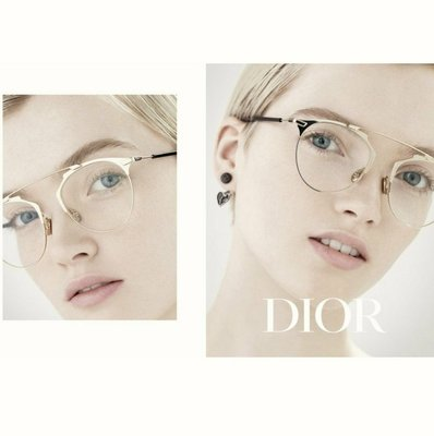 DIOR   ►( 金屬淡金色 )貓眼框型 眼鏡 光學鏡框 中性款|100%全新正品|特價!