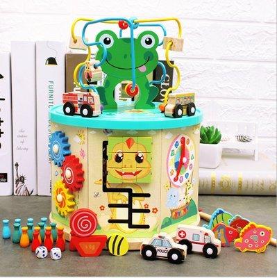 ❤️禮品苑❤️ [台灣現貨] 木製 多功能益智繞珠箱 百寶箱 工具箱 早教開發親子玩具 兒童玩具