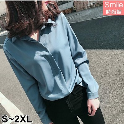 【V2583】SMILE-簡約氣質.純色寬鬆顯瘦長袖上衣