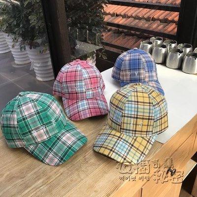 [免運]chic韓風帽子女格子棒球帽遮陽鴨舌帽百搭休閒夏透氣帽子甜美清新—印象良品