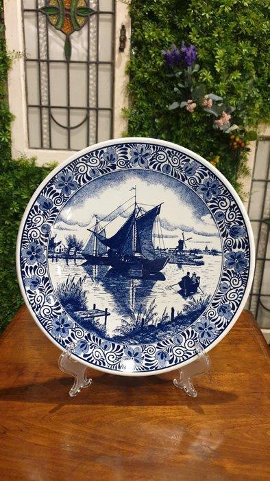 【卡卡頌 歐洲古董】 DELFTS  荷蘭老件 帆船  青花瓷  瓷盤  美麗花卉 飾盤  大掛盤p1724