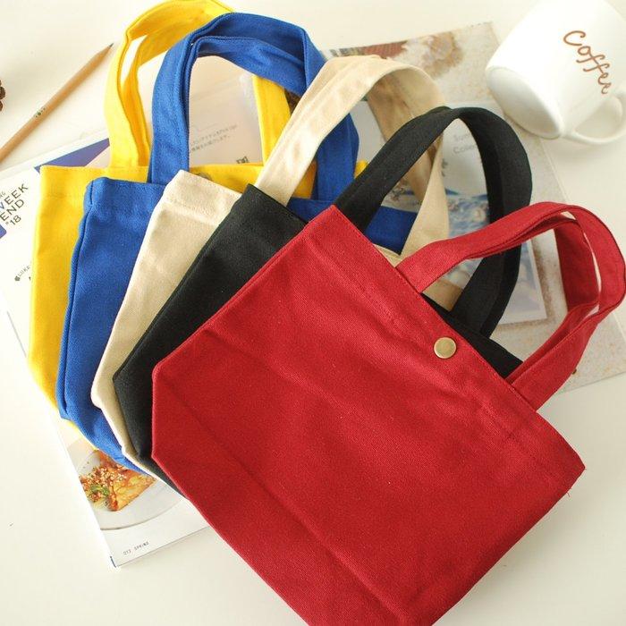 【里樂@ LeaThER 】純色銅釦帆布包 手提袋餐袋手提包小包 巧 733