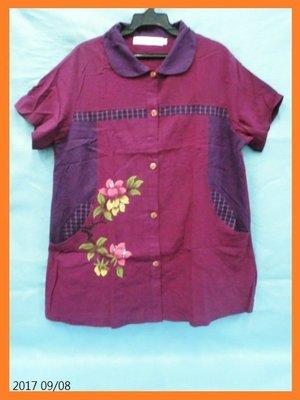*Cary百寶盒* *~~【蘭陵】專櫃品牌~(XL.3L)紫紅色花朵圖印格紋雙口袋中國風上衣--每件只要350元~~* 新北市