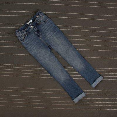 二色薄款磨白抓痕挽邊寬松直筒牛仔褲女七分褲