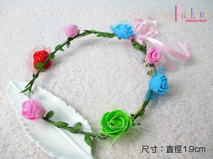 ☆[Hankaro]☆ 歐美新款派對LED閃光七彩花朵花環花圈髮飾