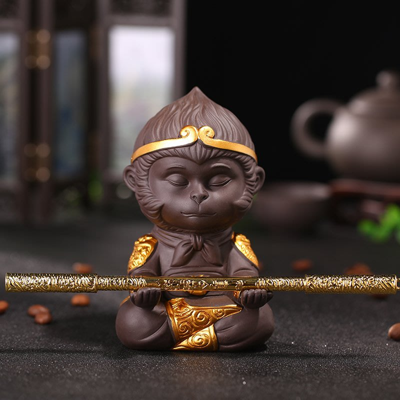齊天大聖紫砂茶寵  紫泥 孫悟空 大聖歸來 紫砂泥 可養 茶寵 功夫茶具 贈送金箍棒