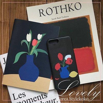 Sis KOREA style 韓國 歐美 靜謐氛圍靜物花瓶黑底手機殼 IPHONE蘋果手機配件 硬殼 [L6oJCo]