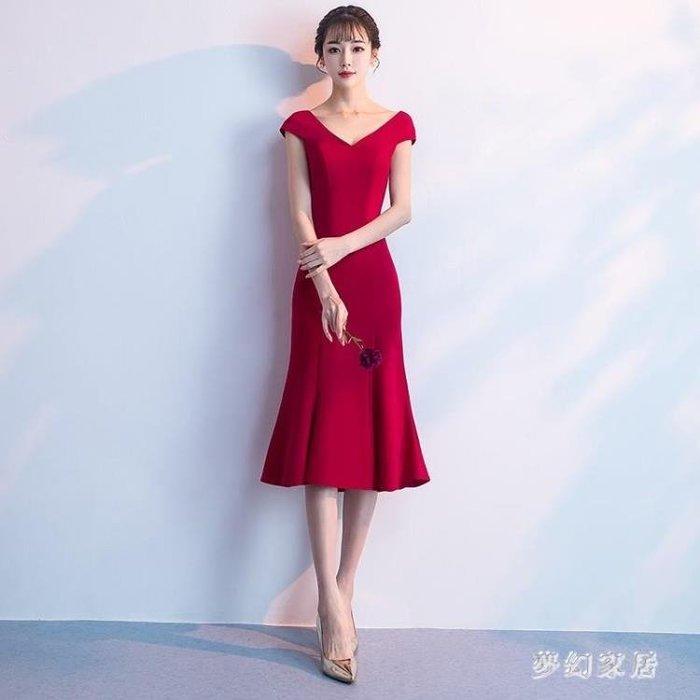 中大尺碼 魚尾禮服2018新款結婚秋季紅色中長款魚尾晚禮服sd4354