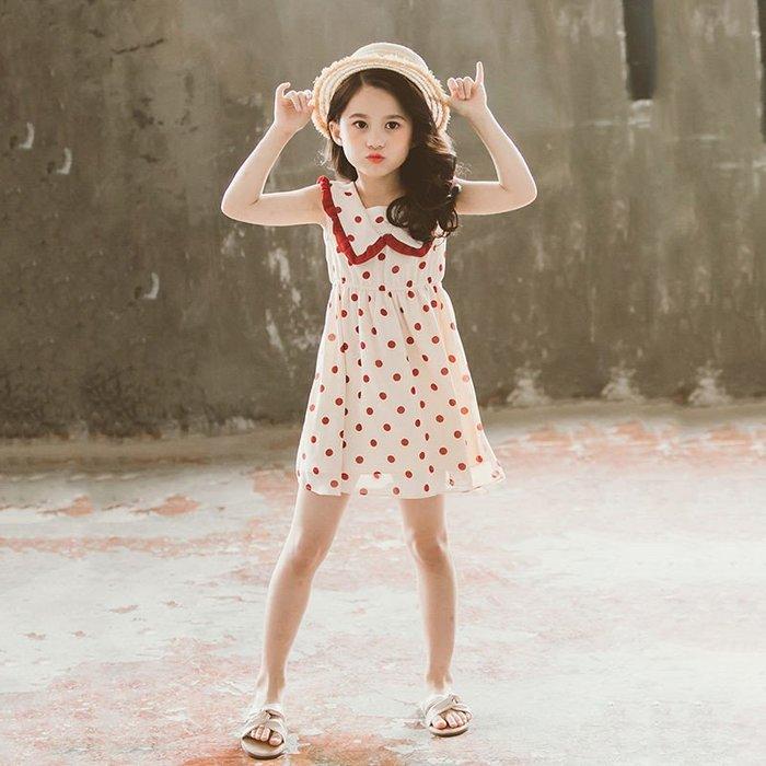 •*~ 辣媽咪衣飾小舖 ~*•❤童裝系列❤K430430韓版大童夏款甜美小女孩公主裙翻領圓點洋裝