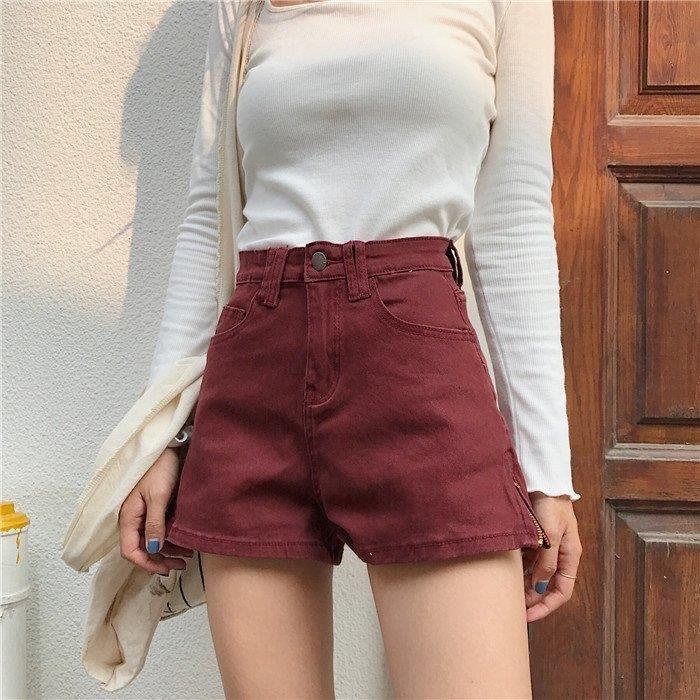 麥麥部落 牛仔短褲夏季女裝正韓復古高腰修身款款彈力顯瘦字側拉鏈闊MB9D8