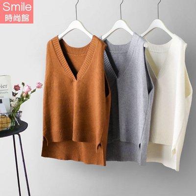 【V2812】SMILE-慵懶隨性.純色前短後長大V領針織背心
