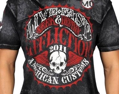 Affliction 短袖 T 恤 黑色 騎重機俱樂部 哈雷 手工 翅膀 UFC S M L【以靡超正品】