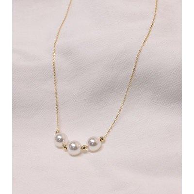 FAINO hzyeyuan 925純銀笑臉三顆珍珠項鏈三色氣質簡約鎖骨鏈日韓80731