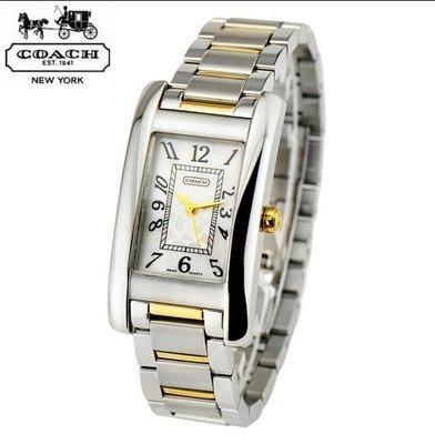 品牌折扣館 美國代購正品 COACH錶 長方形精鋼錶帶石英錶 女士手錶 優惠特價款