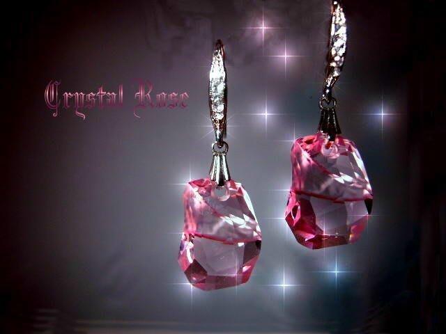 ※水晶玫瑰※ SWAROVSKI 天瑩水晶吊墜 進口鑲鑚耳勾耳環(DD058)~5色可選