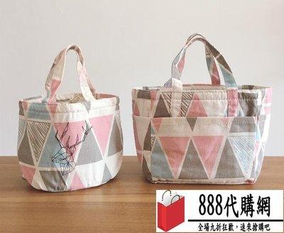 飯盒袋手提袋便當袋小帶飯包保溫袋圓形大號手提飯盒包便當包防水【888代購網】