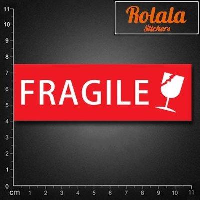 ROLALA【S242】PVC防水潮流貼紙-易碎品B《買4送1》單張行李箱貼牆貼包裏FRAGILE玻璃杯