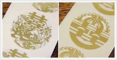 ♥grita's handmade♥透明燙金喜帖貼紙╱喜帖╱結婚╱婚禮小物╱鴛鴦 囍字╱特價1顆1元超優惠