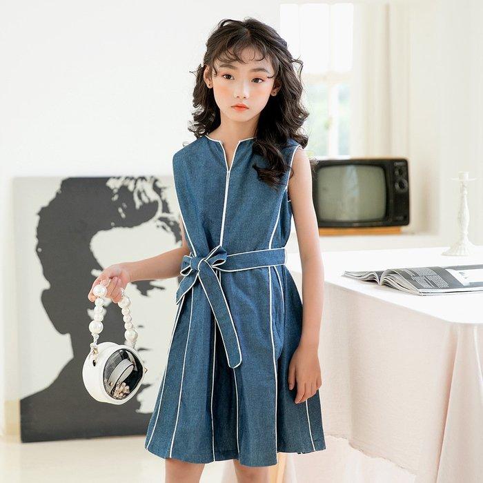 •*~ 辣媽咪衣飾小舖 ~*•❤童裝系列❤K970426韓版大童夏款甜美休閒可愛時尚背心公主裙洋裝