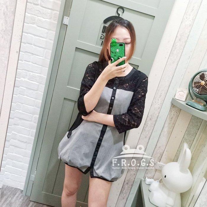 F.R.O.G.S T00079(二手)正韓黑色蕾絲拼接直細條紋寬鬆罩衫長版衣休閒衣T恤棉衣-現貨特價