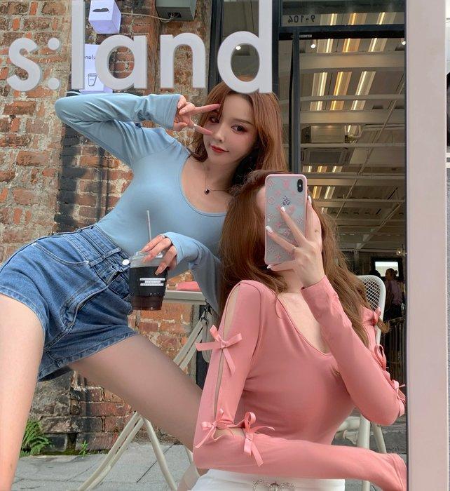 ❤Princess x Shop❤長袖t恤女夏季網紅蝴蝶鏤空性感防曬薄款打底上衣