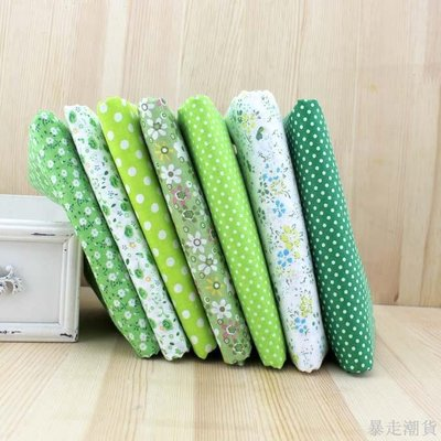 暴走潮貨 綠色系平紋棉布組 門幅150CM 手工DIY拼布面料布料 2.9元-50X50CM