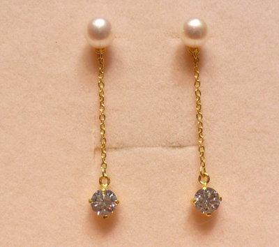 【金飾記錄】【黃金9999】§【純金珍珠搭CZ鑽耳環】038