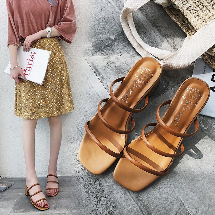 韓國正韓 超低價 顯瘦 性感 歐美 甜美 日系時尚方頭粗跟拖鞋女夏韓版中跟一字拖女外穿百搭顯瘦涼拖鞋潮