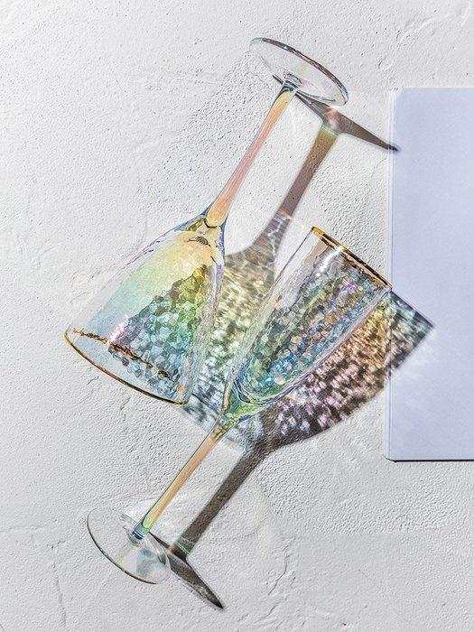SX千貨鋪-離子鍍錘目紋金邊玻璃紅酒杯家用葡萄酒雞尾酒香檳杯#玻璃杯#酒杯#水杯#茶杯#杯子套裝