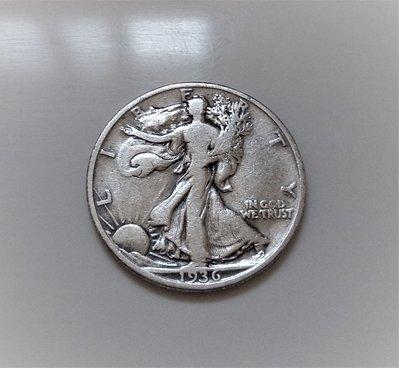 稀少 1936 年 美國 花束 行走 女神 50 Cents USD 半 美元 古 銀幣 HALF 1/2 DOLLAR