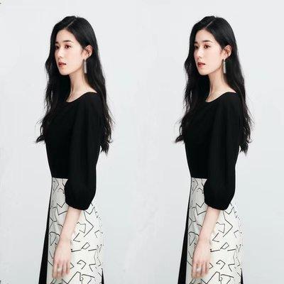 預購-韓劇同款The King 永遠的君主鄭恩彩具瑞怜同款黑白撞色不對稱印花連身裙女