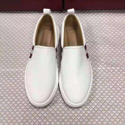 【全新正貨私家珍藏】BALLY 白色&紅色真皮休閒男鞋 HERALD