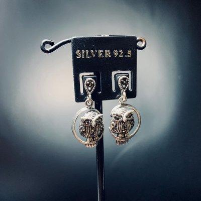 925純銀 黑鑽 貓頭鷹 設計款 耳針式 耳環 925silver