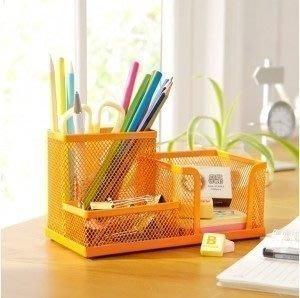 670巷: 鐵網風格桌上收納盒 筆筒 整理盒 文具收納【橙黃色對標區】