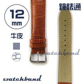 【鐘錶通】C1.21AA《霧面系列》鱷魚格紋-12mm 霧面棕┝手錶錶帶/皮帶/牛皮錶帶┥