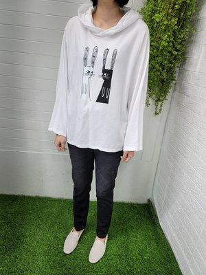 正韓korea韓國製DIVER白色黑白兔子長袖連帽T恤 現貨 小齊韓衣