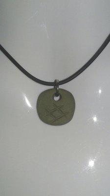 日本  井字符號 手工 陶土泥塑 手工燒製 項鍊墜子 綠色